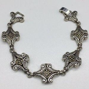Brighton Floral Scroll Silver Chain Link Bracelet
